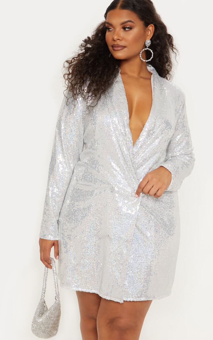 Plus Silver Sequin Blazer Dress