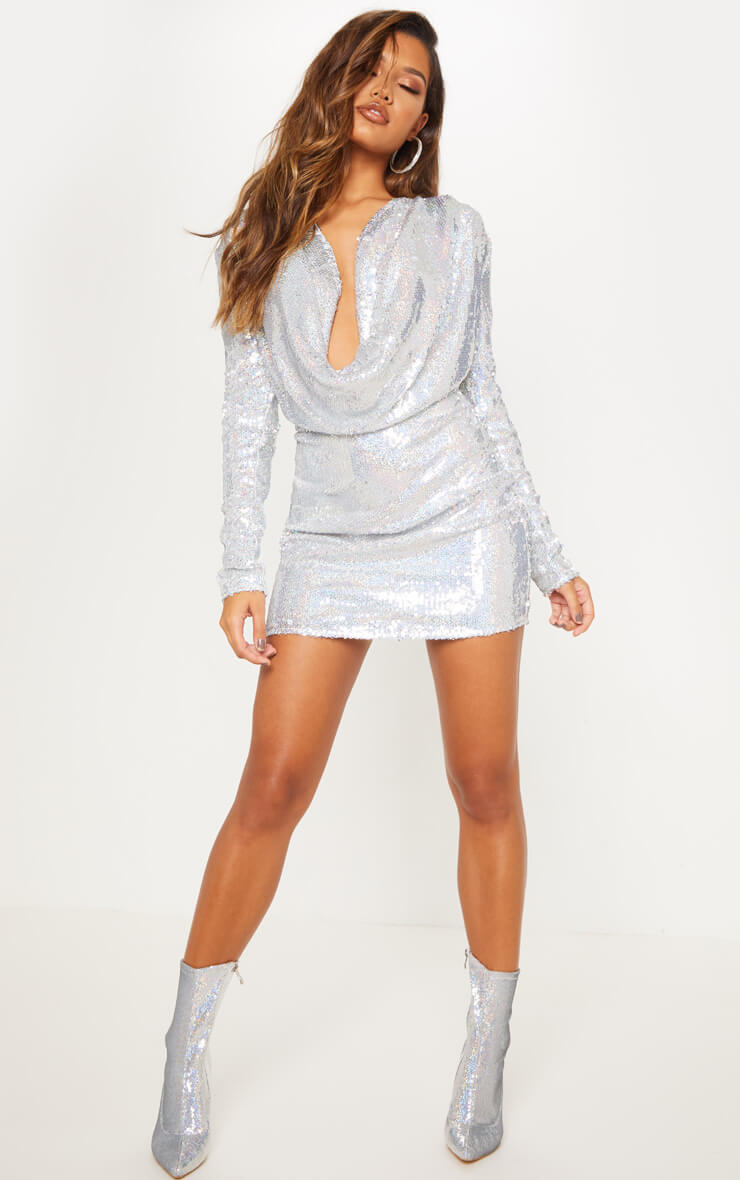Silver Sequin Cowl Neck Bodycon Dress