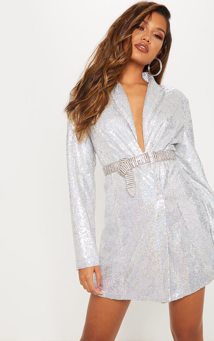Silver Sequin Oversized Blazer Dress