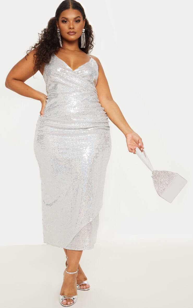 Silver Sequin Wrap Over Maxi Dress