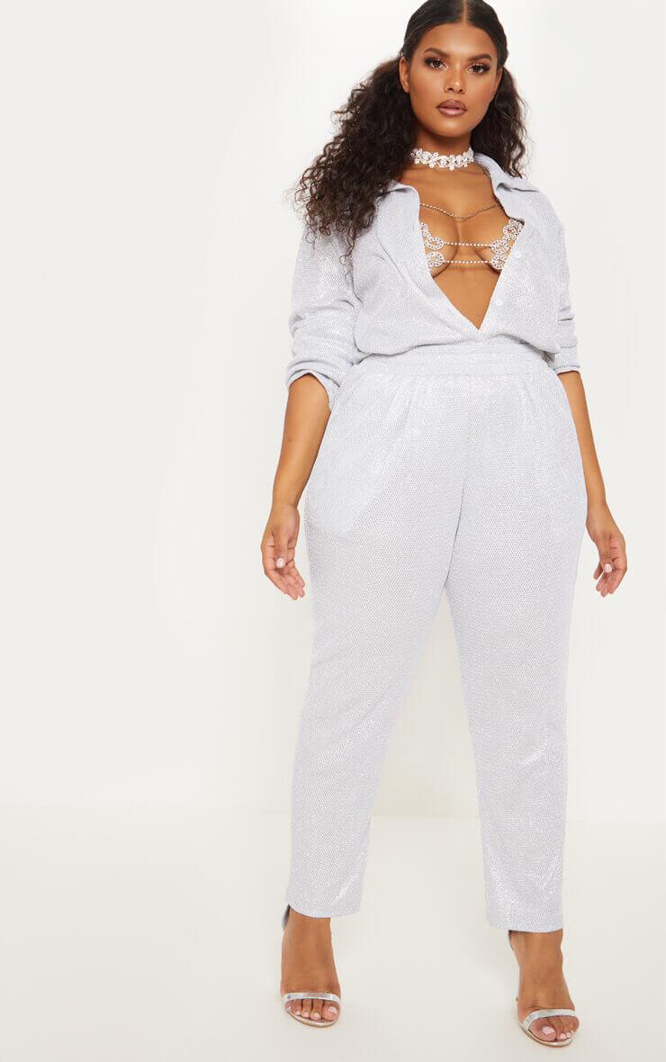 PLT Plus - Pantalon court taille haute argenté à paillettes