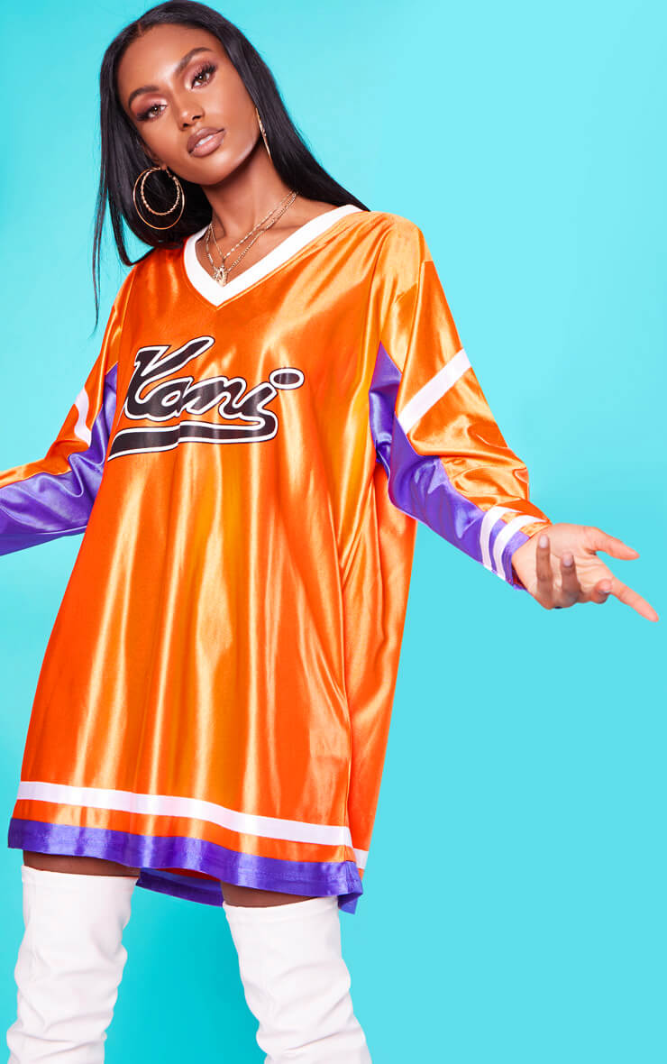 KARL KANI Orange Baseball Dress