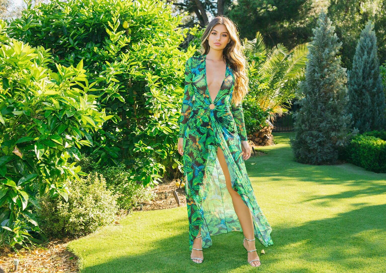 Green Tropical Print Maxi, Marthea Silver Tube Strap Heeled Sandals