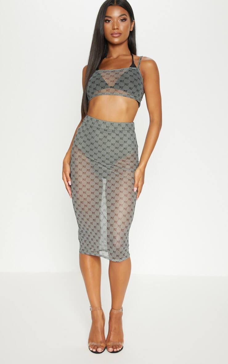 Khaki prettylittlething mesh midi skirt