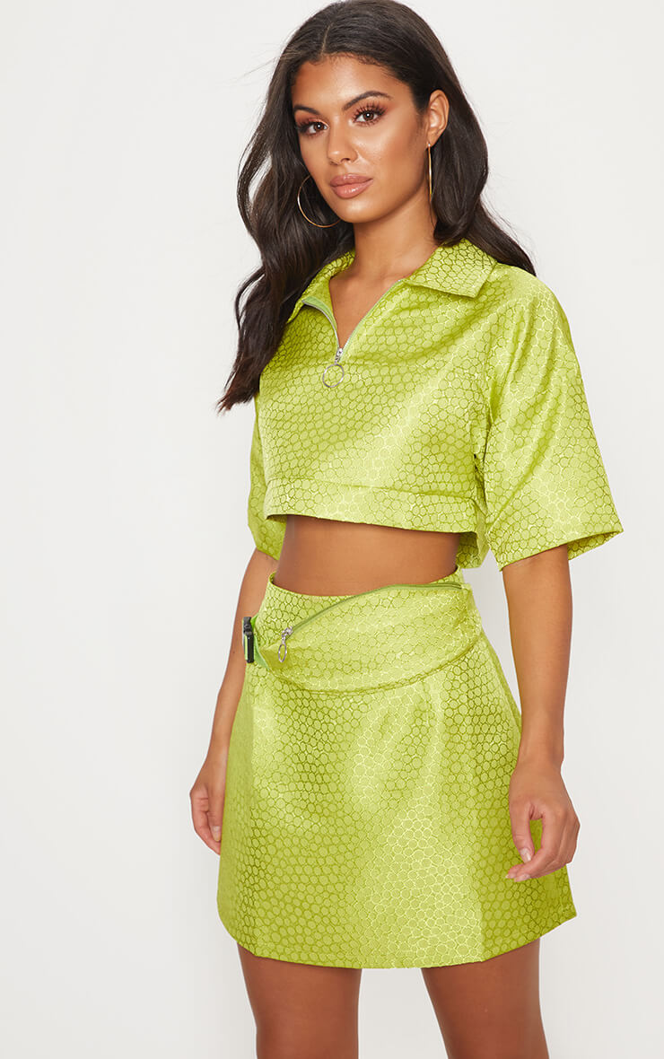 Lime green jaquard ring pull crop top