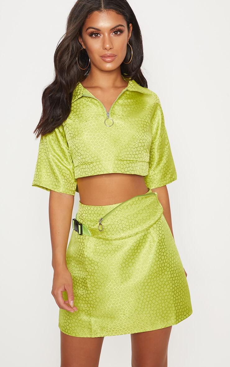 Lime green jacquard high waisted skirt
