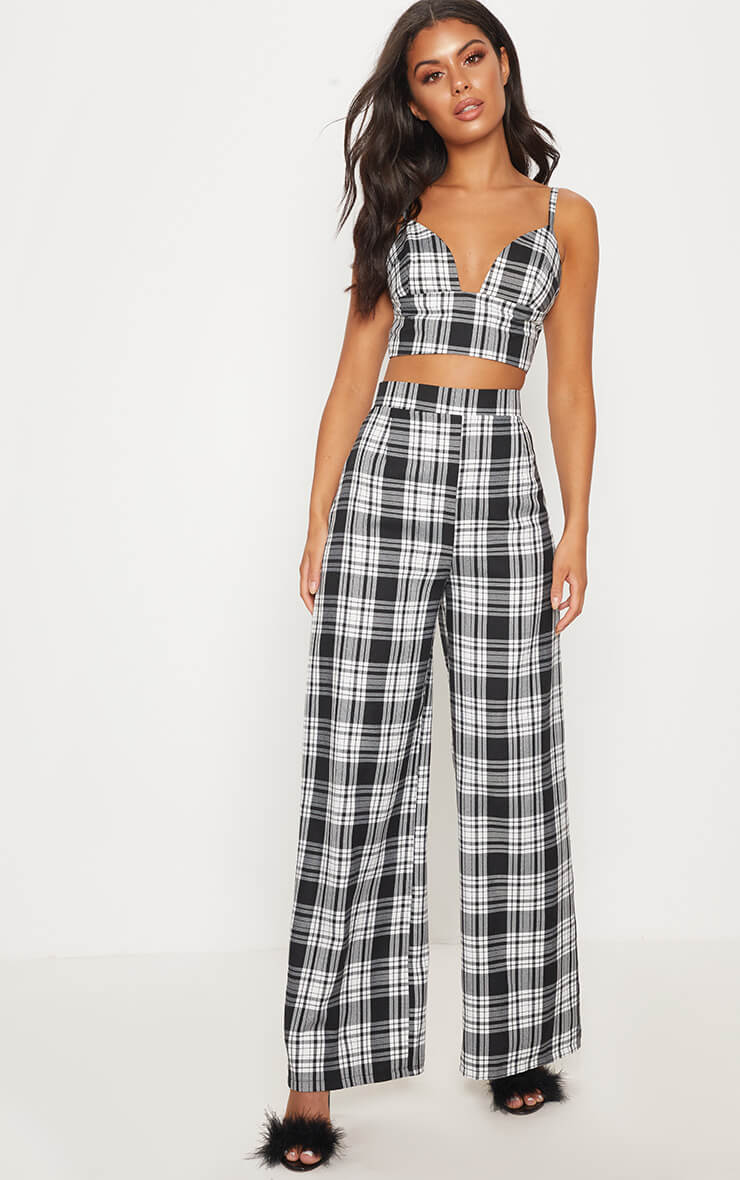 Monochrome check high waisted wide leg trousers