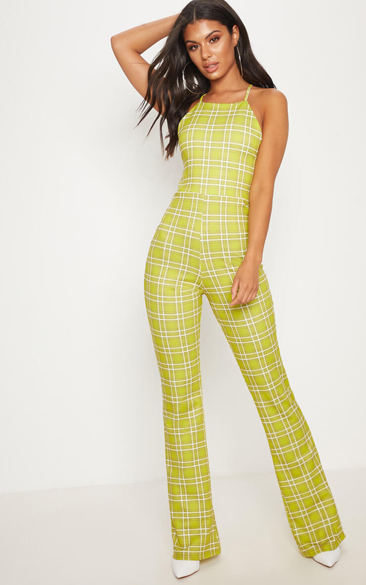 Lime green strappy back check wide leg jumpsuit