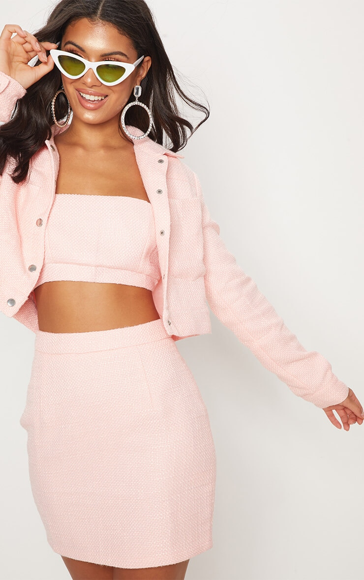 Pastel pink boucle high waisted skirt