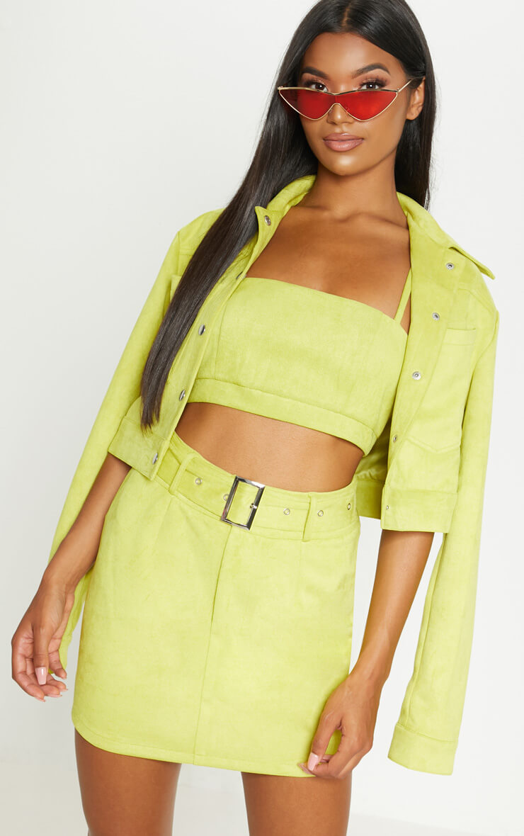 Lime green bonded suede high waisted skirt