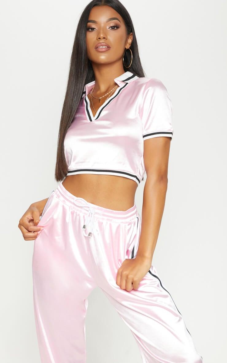 Pastel pink satin stripe trim crop top
