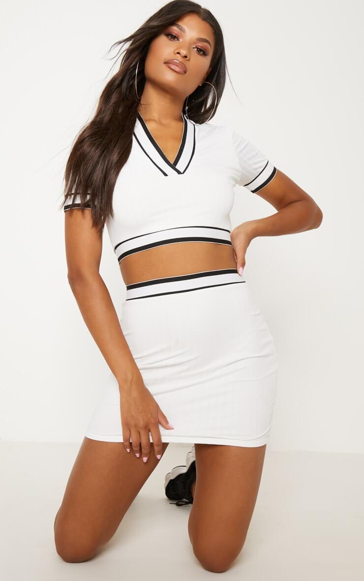 White stripe trim high waisted skirt