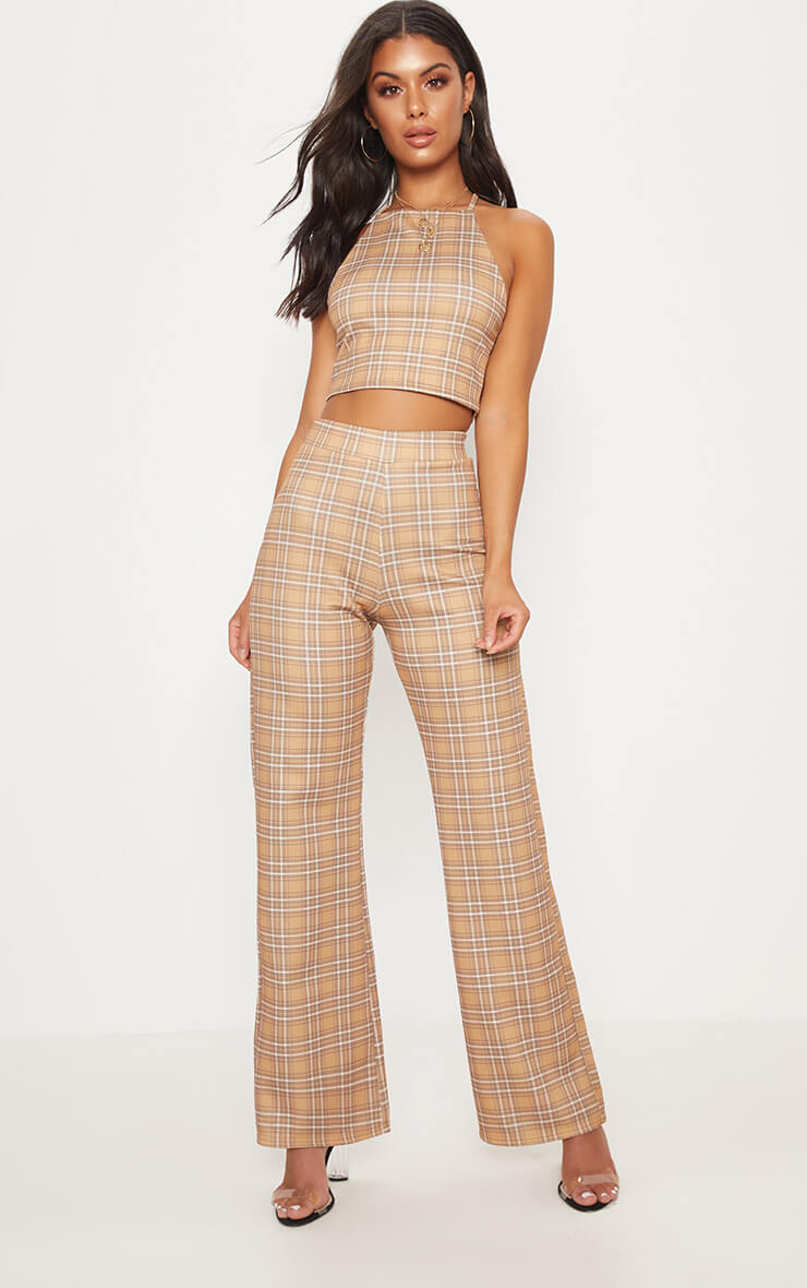 Mustard check high waisted wide leg trousers