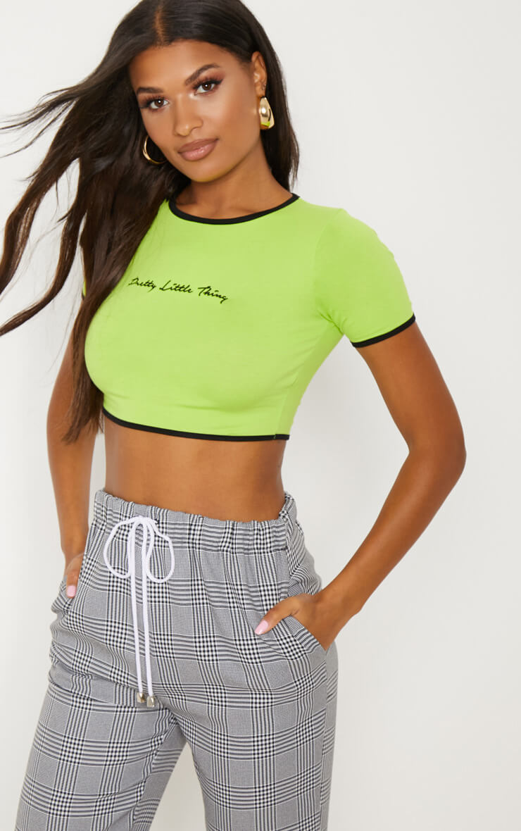 Lime green plt embroidered crop t-shirt