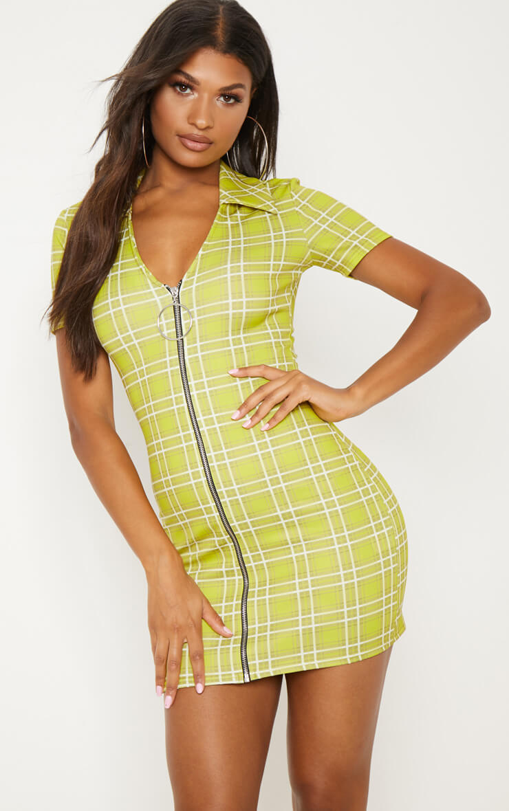 Lime green check ring pull bodycon dress