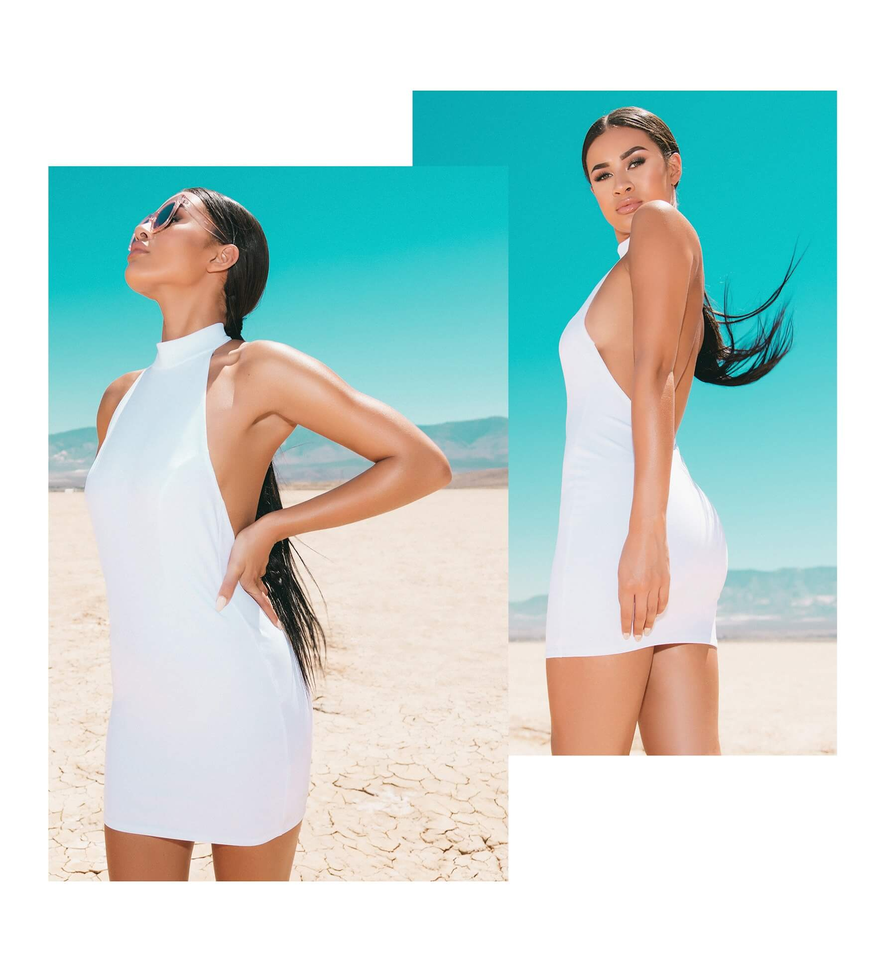 White High Neck Low Back Bodycon Dress