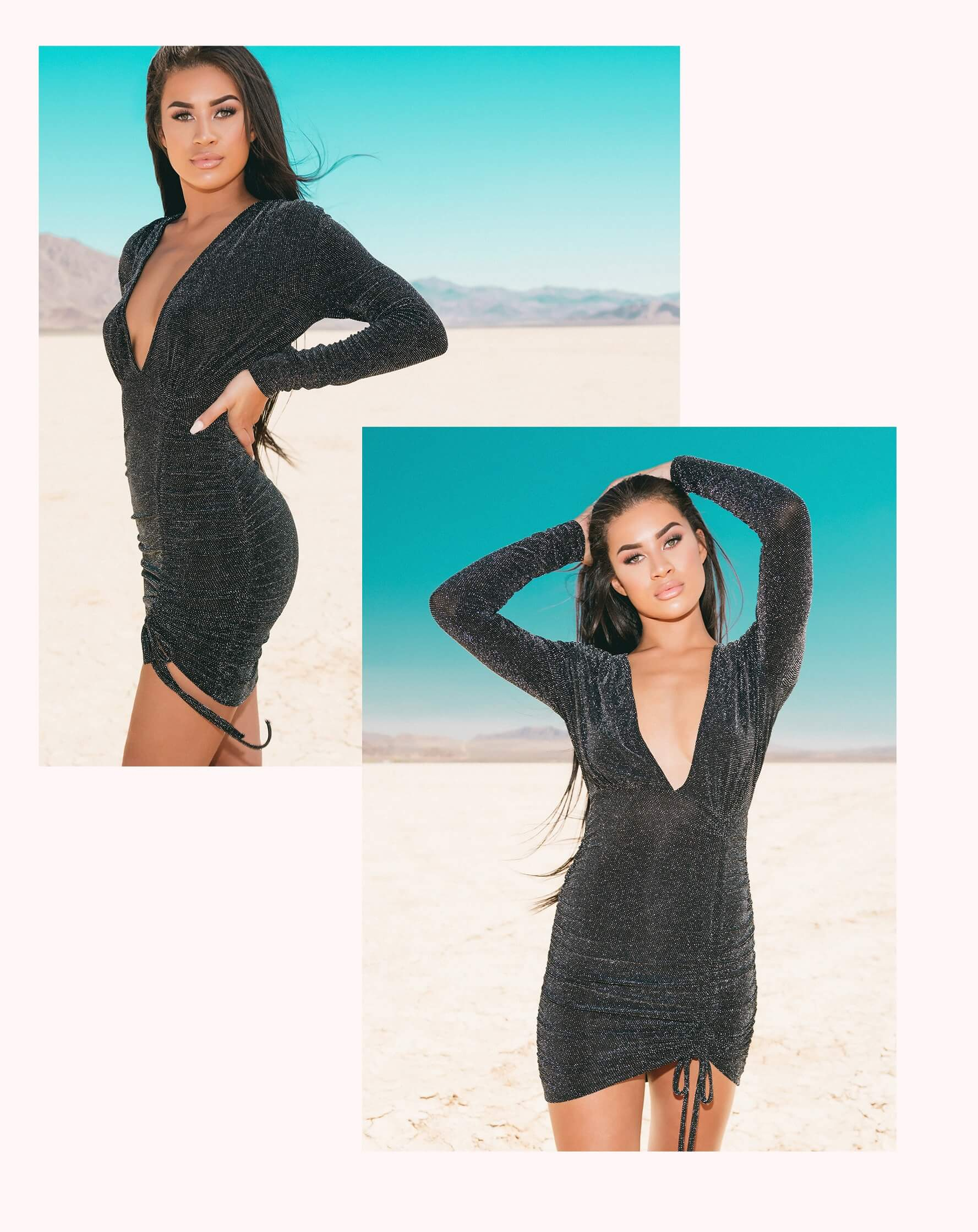 Silver Glitter Lurex Plunge Ruched Bodycon Dress