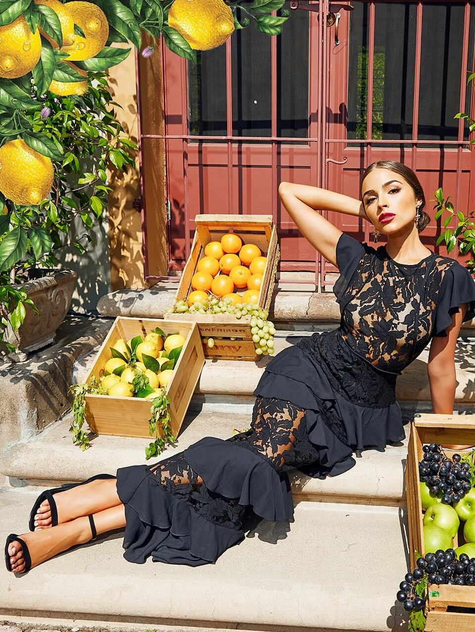 Black Lace Ruffle Detail Maxi Dress