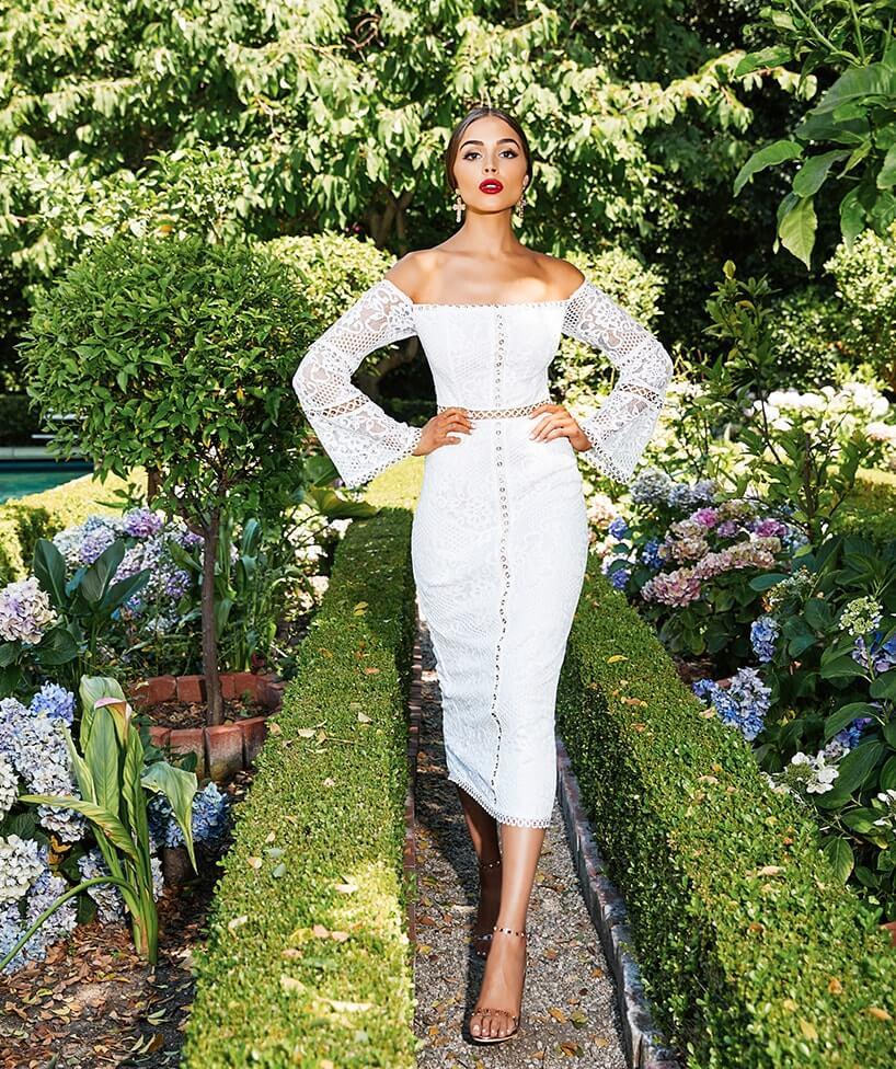 White Lace Eyelet Detail Bardot Midi Dress