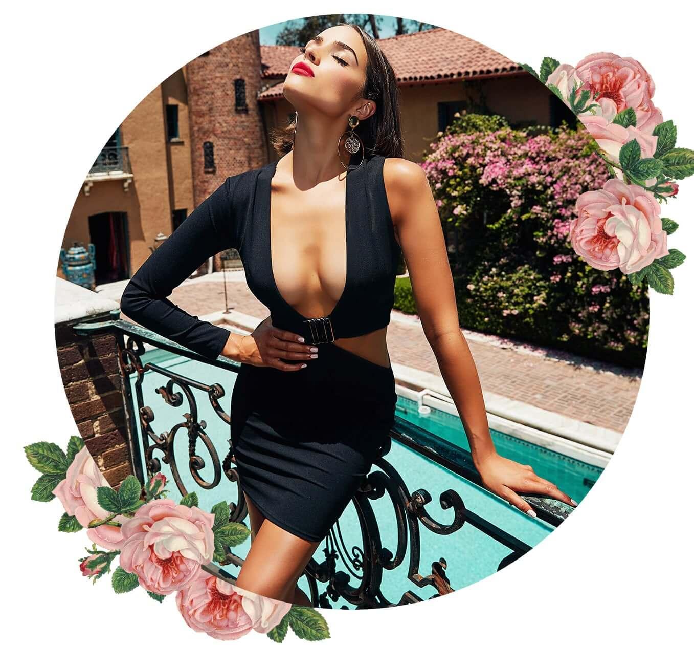 Black Cut Out Trim Detail Asymmetric Bodycon Dress
