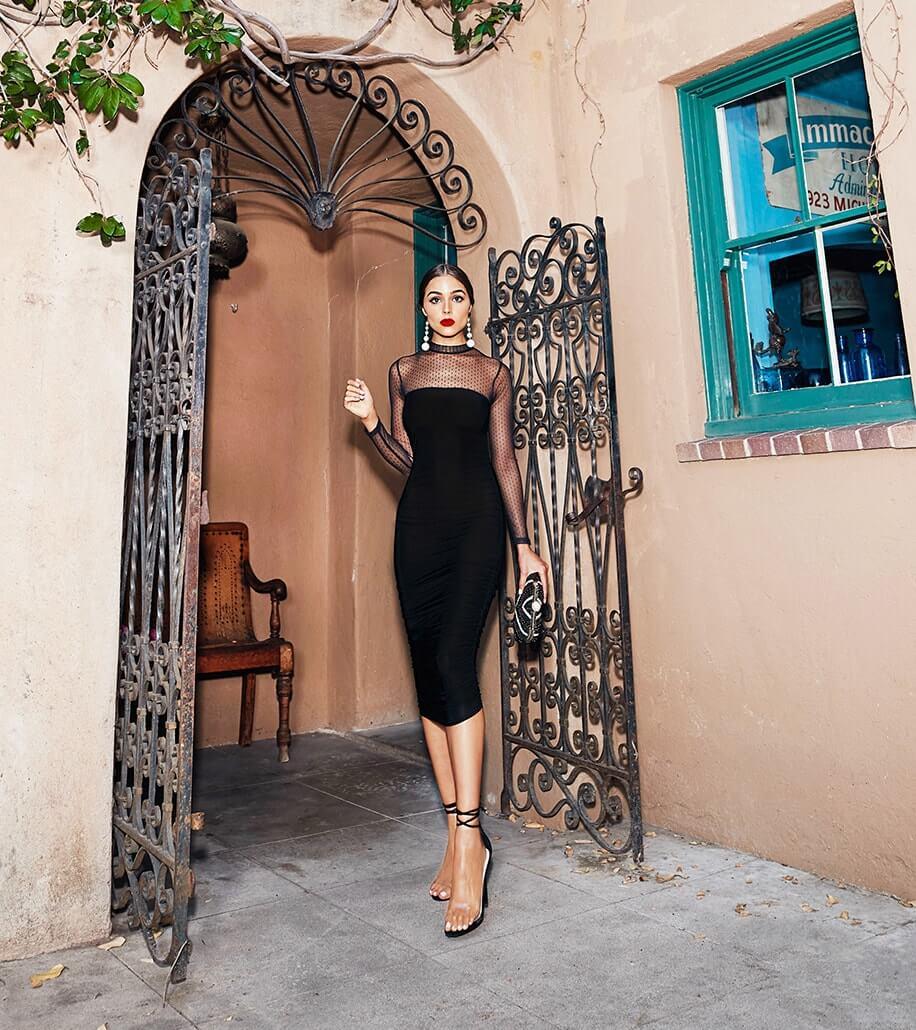 Black Dobby Mesh Midi Dress