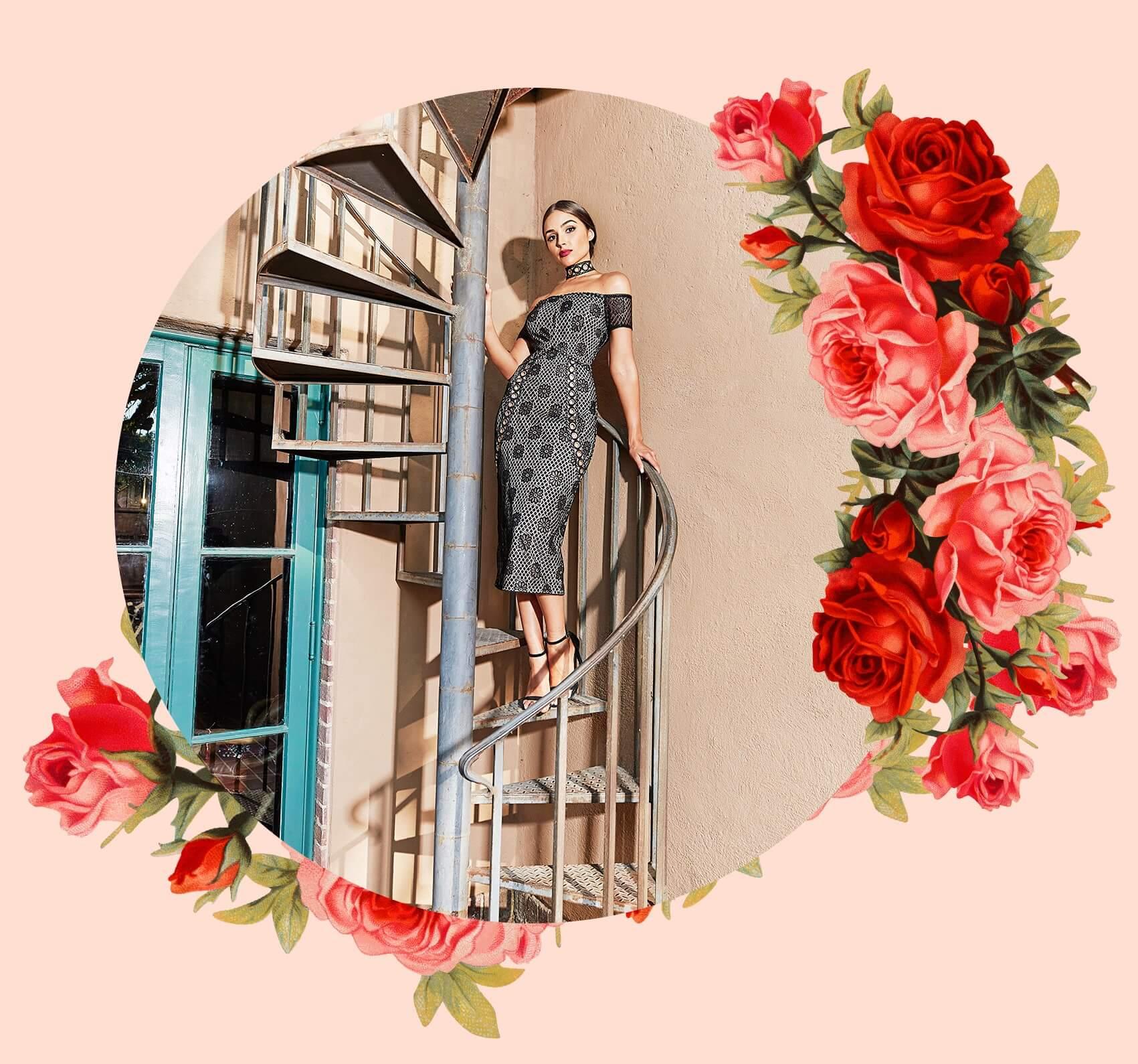 Black Lace Choker Eyelet Detail Bardot Midi Dress