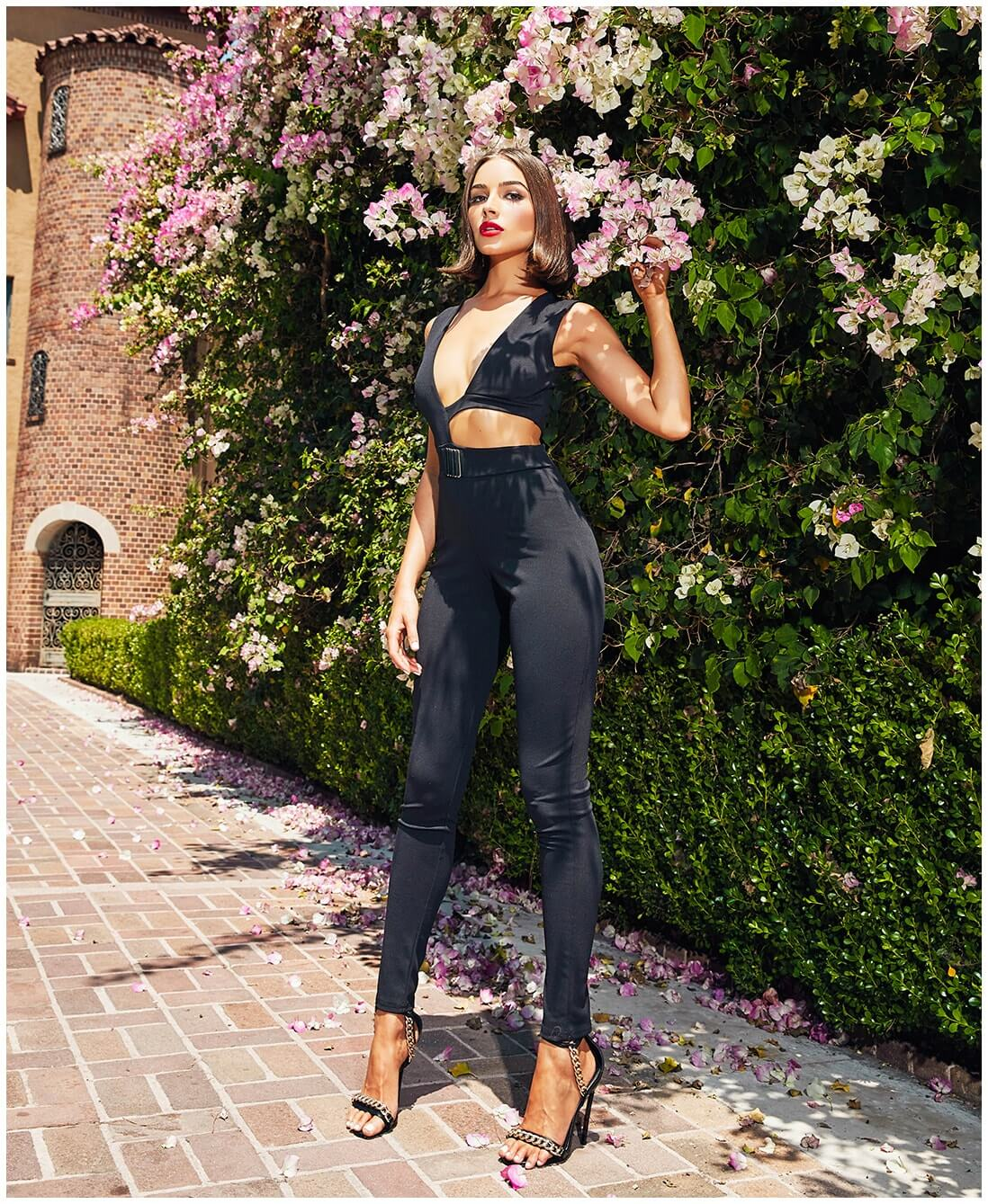 Black Cut Out Trim Detail Asymmetric Jumpsuit