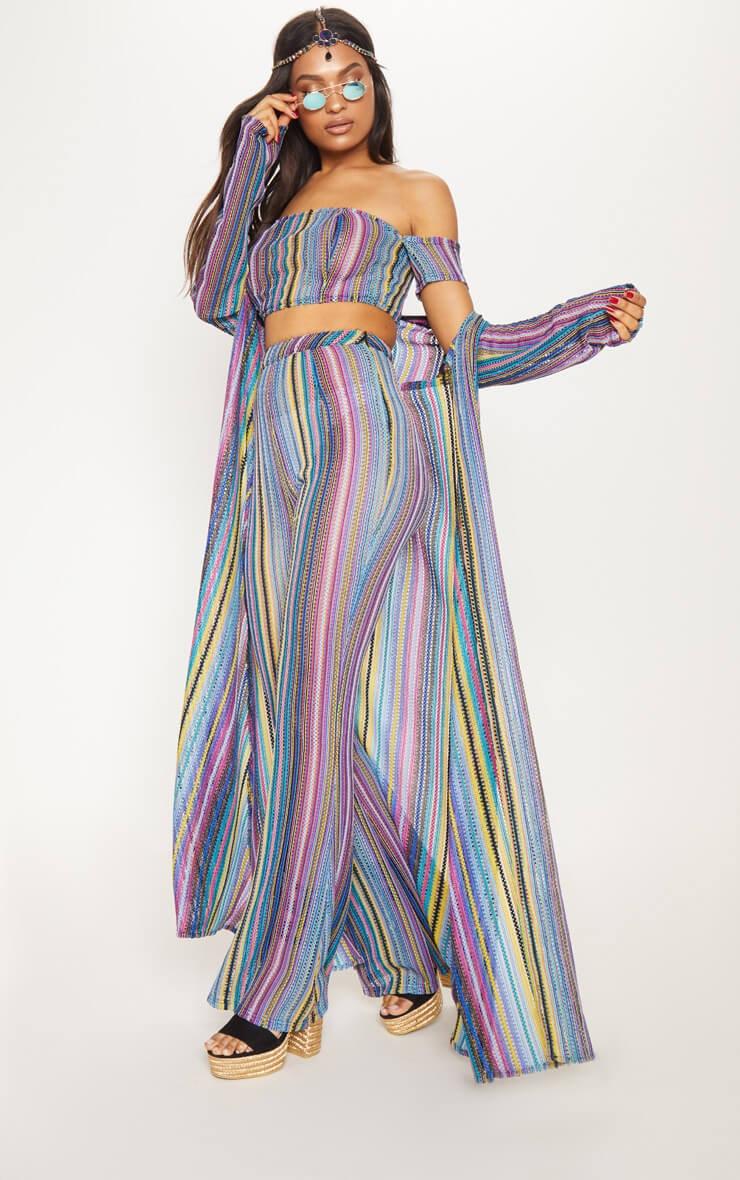 multi crochet stripe maxi cardigan