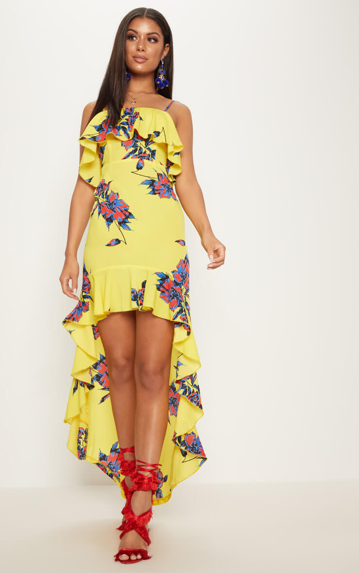 yellow floral frill detail dipped hem maxi dress