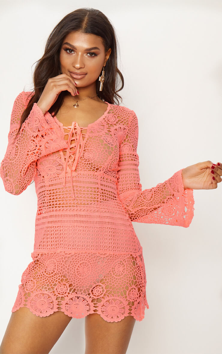 neon pink tie front flare sleeve crochet lace shift dress