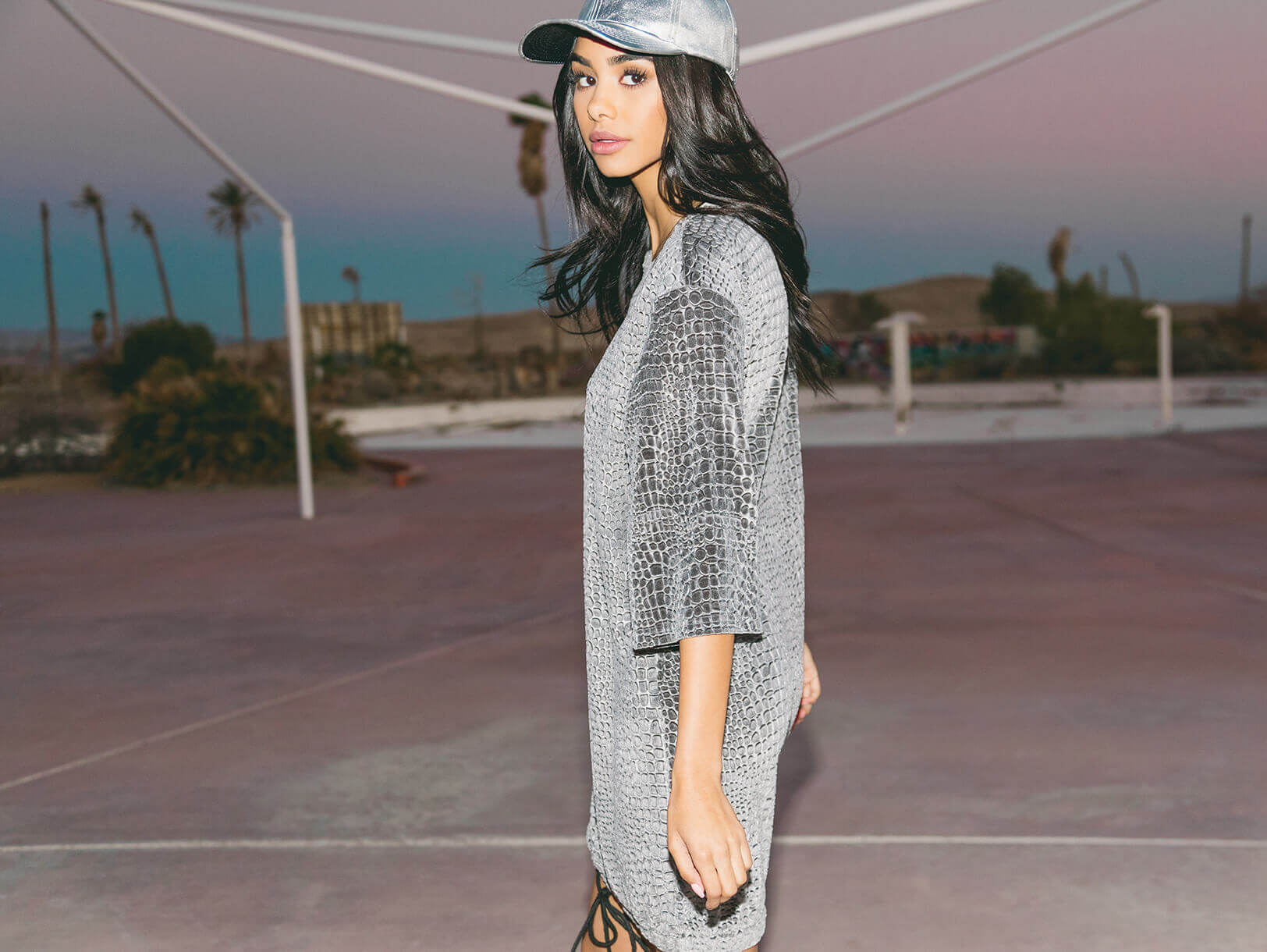 Ania silver metallic pu baseball cap , Isabelle grey animal embossed velvet jumper dress , Adreena silver holographic heeled boots