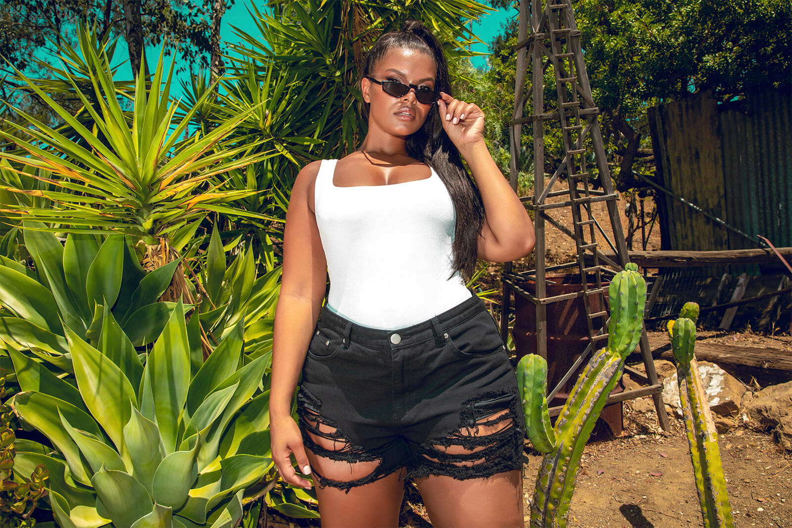 Plus White Slinky Square Neck Thong Bodysuit,Plus Black Extreme Rip Denim Shorts