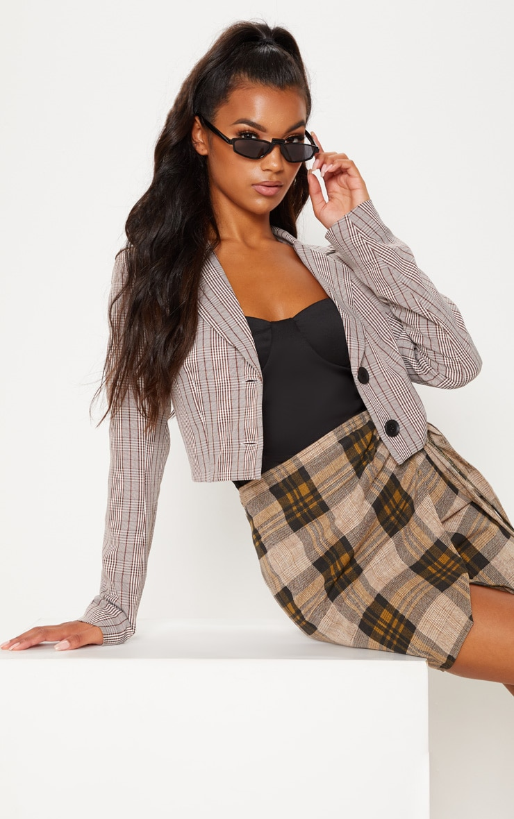 Brown Check Button Up Crop Top