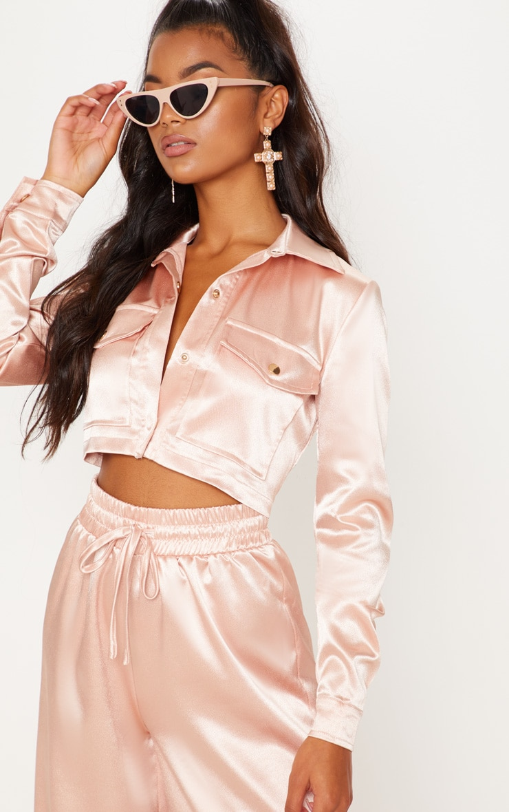 Satin Cropped Military Button Shirt