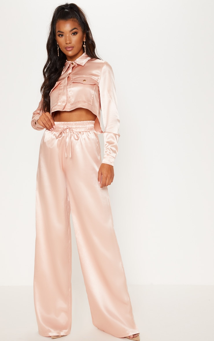Satin Drawstring Wide Leg Trousers