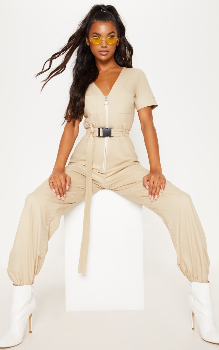 Stone Cargo Zip Up Jumpsuit