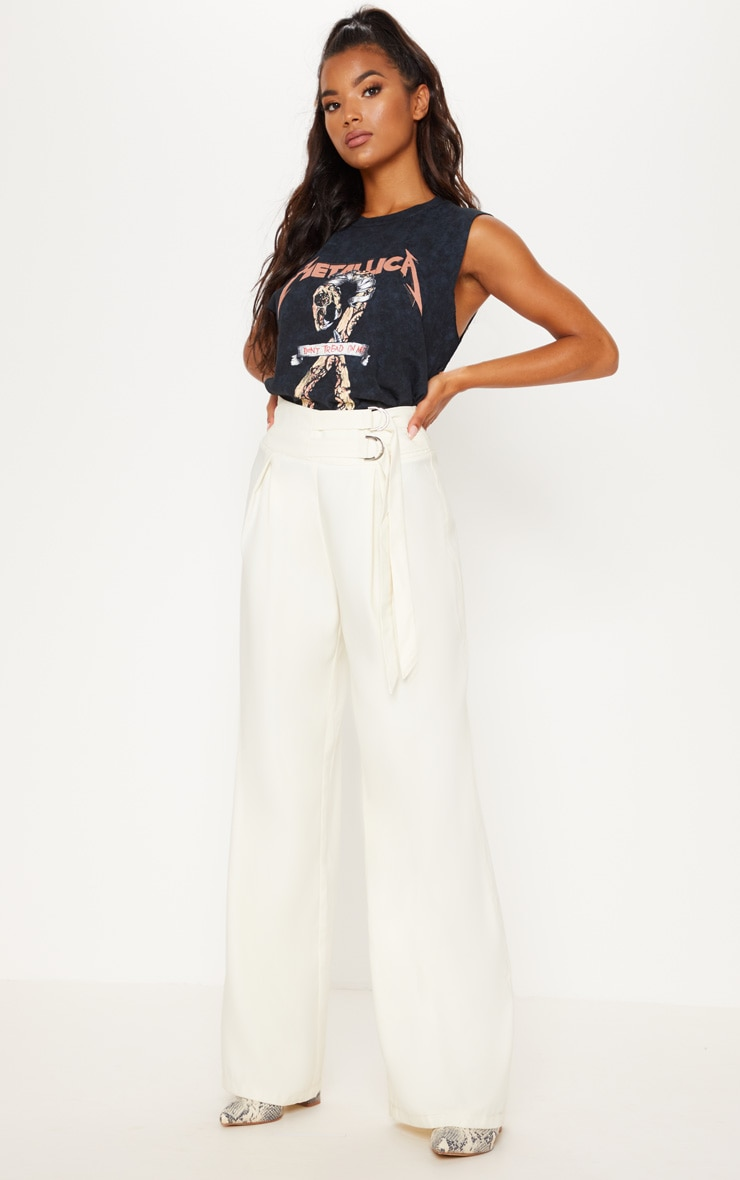 D Ring Buckle Wide Leg Trouser