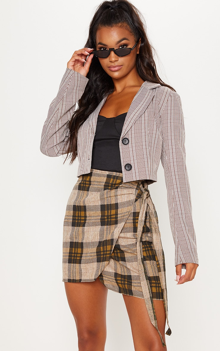 Check Wrap Tie Skirt