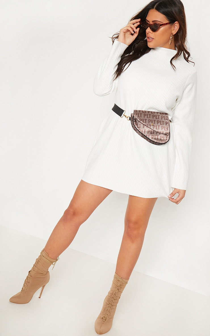 Plus Cream Jumbo Rib High Neck Sweater Dress