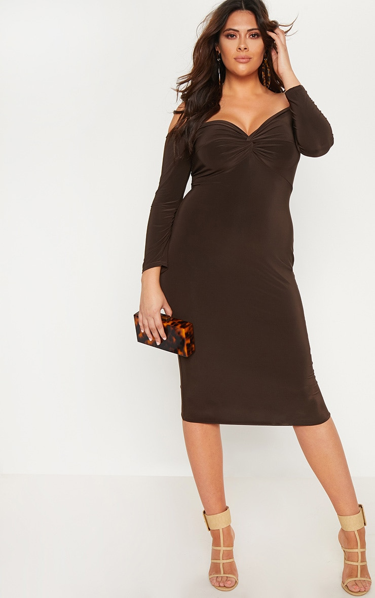Plus Chocolate Brown Slinky Bardot Midi Dress
