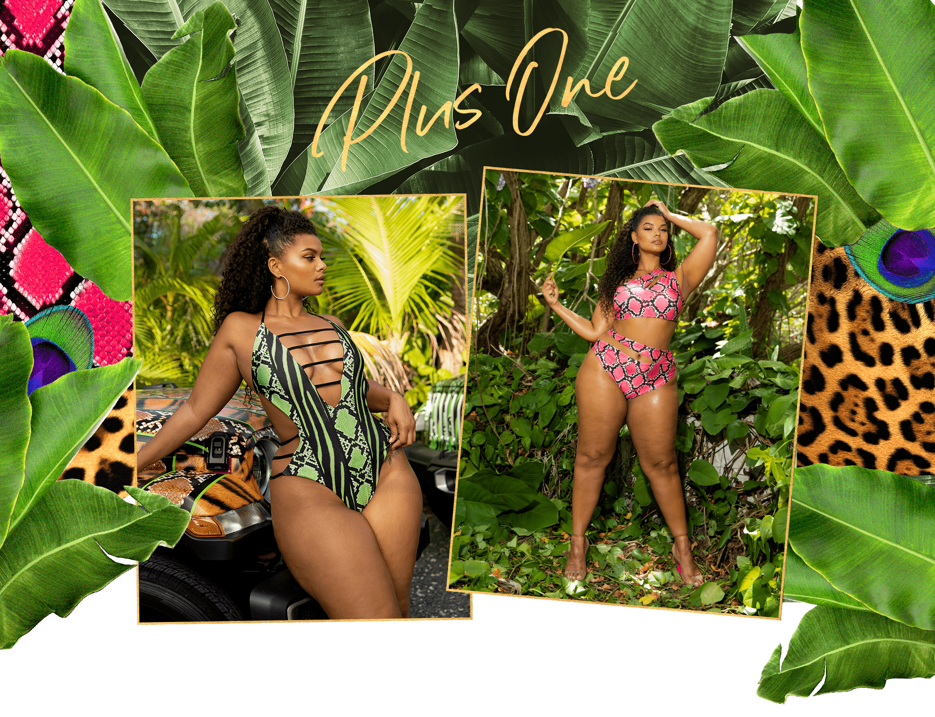 Plus Pink Snake Print Cut Out One Shoulder Bikini Top , Plus Pink Snake Print Cut Out Bikini Bottom , Plus Lime Snake Print Strap Detail Plunge Swimsuit