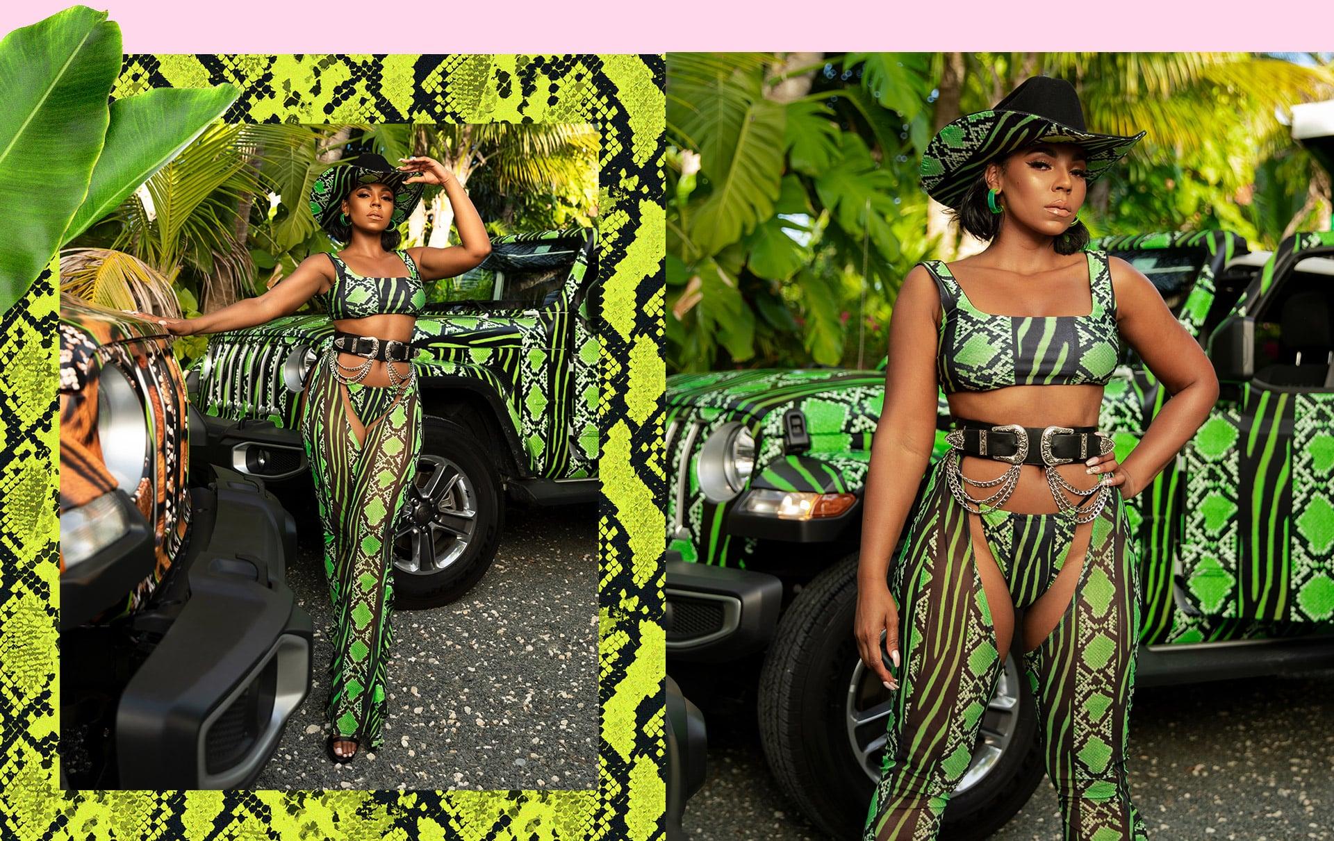 Lime Snake Print Bikini , Chaps