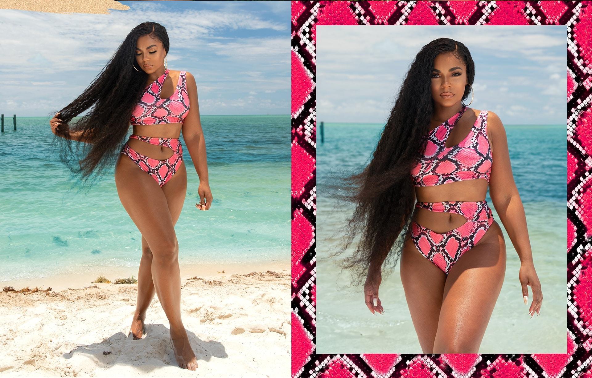 Pink Snake Print Cut Out One Shoulder Bikini Top,Pink Snake Print Cut Out Bikini Bottom
