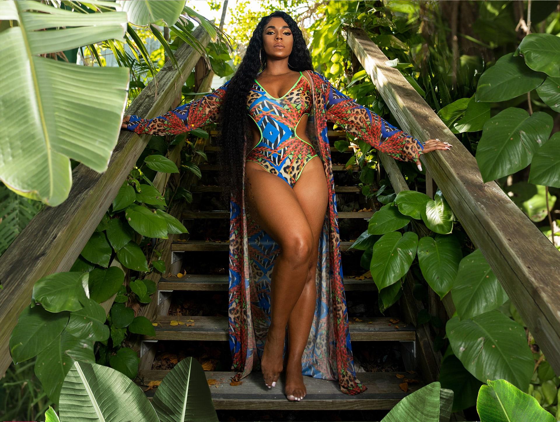 Multi Mixed Jungle Print Mesh Kimono , Multi Mixed Jungle Print Cut Out Plunge Swimsuit