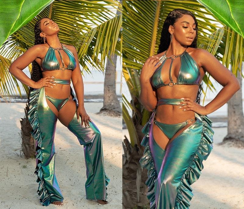 Metallic Strappy Bikini Top , Metallic Bikini Bottom , Metallic Frill Detail Chaps