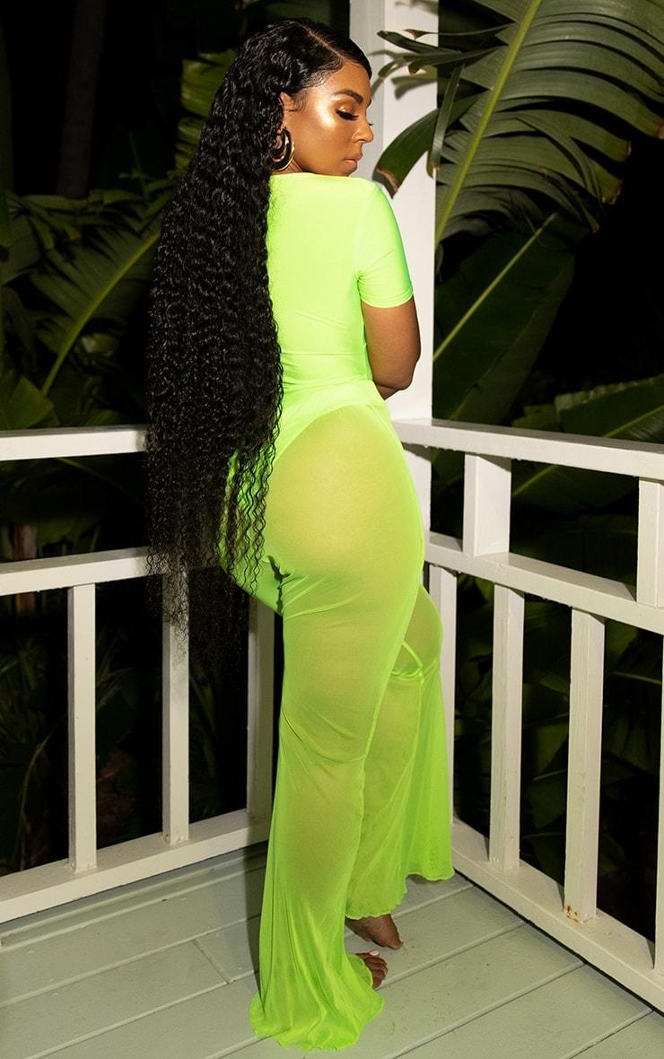 Neon Lime Mesh Flare Trouser