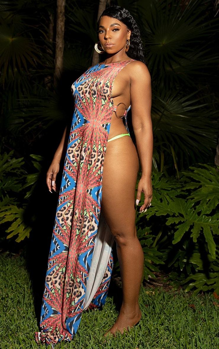 Multi Mixed Jungle Print Ring Detail Maxi Dress