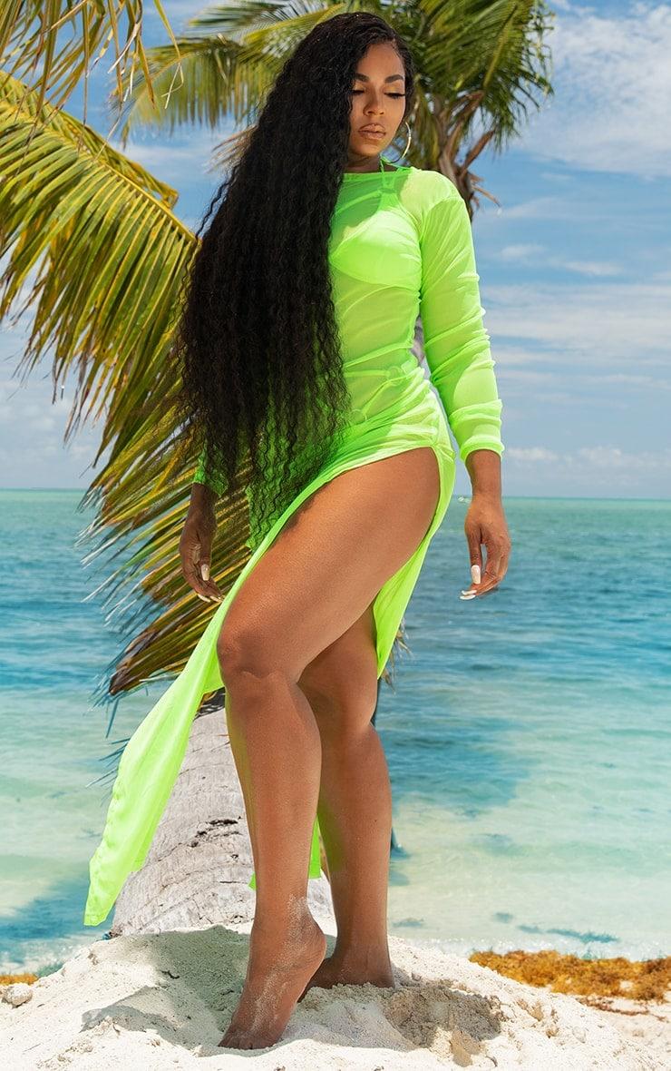 Neon Lime Mesh Long Sleeve Maxi Dress