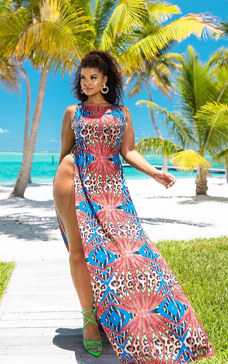 Plus Multi Mixed Jungle Print Ring Detail Maxi Dress