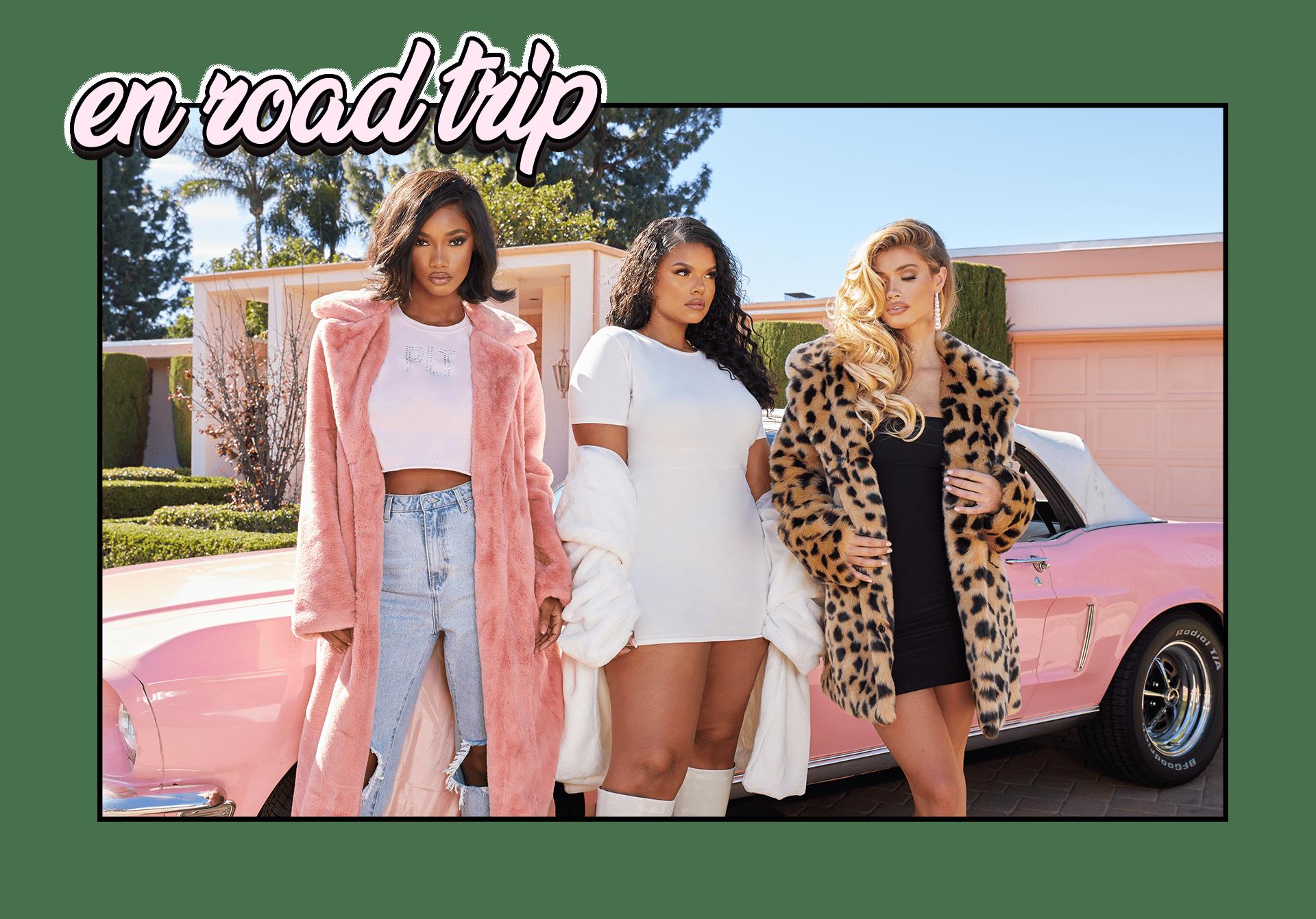 Pink Maxi Faux Fur Coat , Plus Cream Cotton Waist Band Detail Bodycon Dress , Leopard Faux Fur Coat
